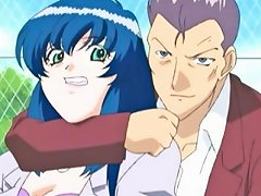 Blue Haired Anime Beauty Gets Her Mouth Gagged With A Thick
